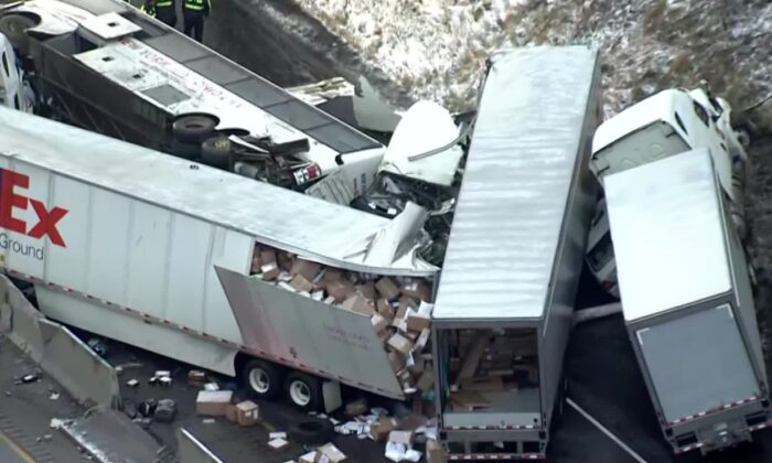 A massive pileup involving two tractor-trailers, a tour bus and passenger cars killed five people and injured at least 60 others in western Pa., on the morning of Jan. 5, 2020. (Courtesy of KDKA)