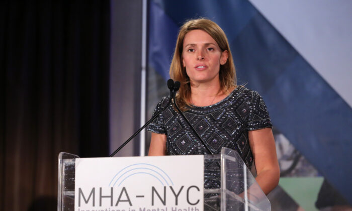 Amy Kennedy, education director of the Kennedy Forum, and wife of Patrick J. Kennedy, honoree, advocate, and former U.S. Representative from Rhode Island , speaks on stage at 2016 Many Faces Of Mental Health Gala at The Pierre Hotel in New York City on April 12, 2016. (Jemal Countess/Getty Images)