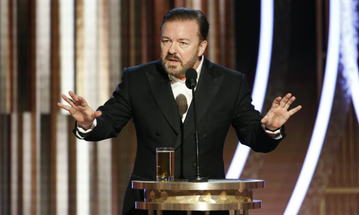 Ricky Gervais speaks onstage during the 77th Annual Golden Globe Awards at The Beverly Hilton Hotel in Beverly Hills, Calif., on Jan. 5, 2020. (Paul Drinkwater/NBCUniversal Media, LLC via Getty Images)