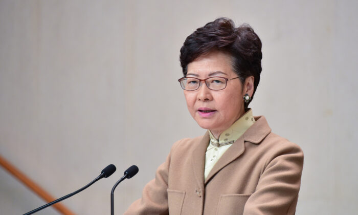 Hong Kong leader Carrie Lam speaks during her weekly press conference in Hong Kong on Jan. 7, 2020. (Bill Cox/The Epoch Times)