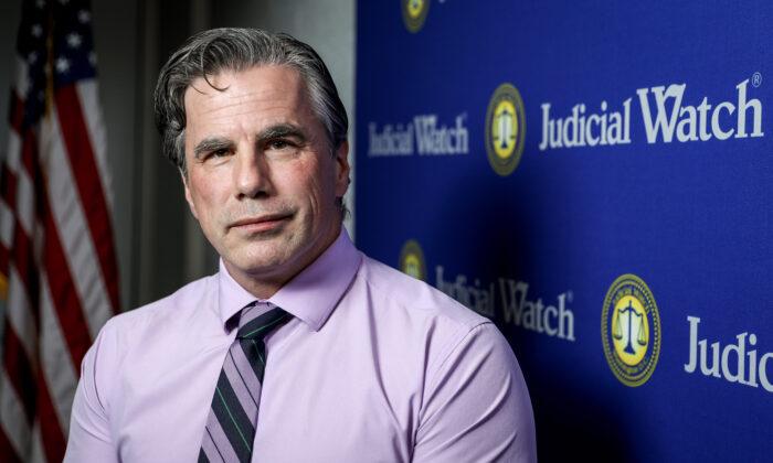 Tom Fitton, President of Judicial Watch, in Washington on Nov. 1, 2019. (Samira Bouaou/The Epoch Times)
