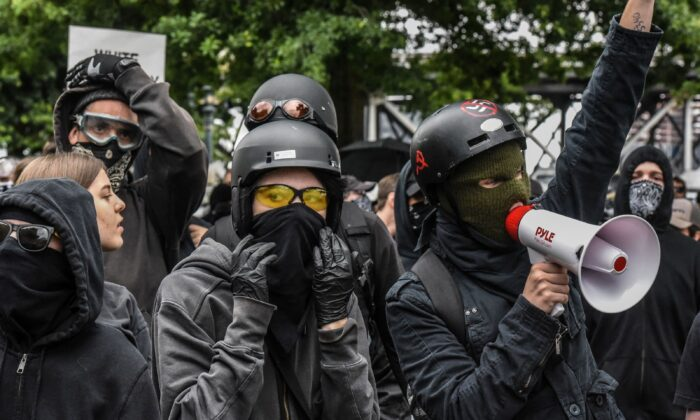 Antifa members gather at a rally in Portland, Oregon, on Aug. 17, 2019. (Stephanie Keith/Getty Images)