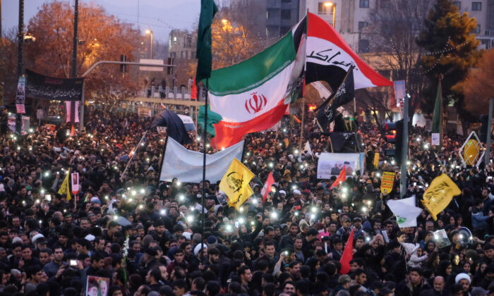 Iranians gather in the northeastern city of Mashhad in response to the death of Gen. Qassem Soleimani on Jan. 5, 2020. (MEHDI JAHANGHIRI/IRAN'S FARS NEWS AGENCY/AFP via Getty Images)