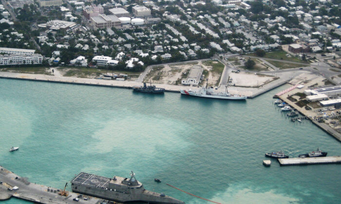 In this photo provided by the U.S. Navy, Navy's combat ship USS Independence (LCS-2) arrives at Mole Pier March 29, 2010 at Naval Air Station Key West in Key West, Florida. (Nicholas Kontodiakos/U.S. Navy via Getty Images)