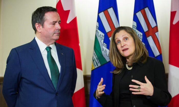 Alberta Premier JasonKenneymeets with Deputy Prime Minister Chrystia Freeland in Calgary on Jan. 7, 2020. (The Canadian Press/Todd Korol)