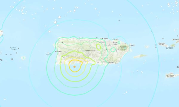 A map showing the location of the earthquake just off the coast of Puerto Rico