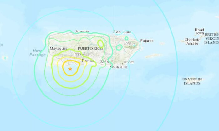A map showing the location of the Jan. 7 earthquake just off the coast of Puerto Rico. (USGS)