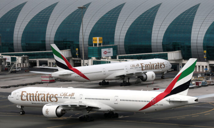 Emirates Airline Boeing 777-300ER planes are seen at Dubai International Airport in Dubai, United Arab Emirates, on Feb. 15, 2019. (Christopher Pike/Reuters)