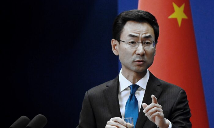 China's Ministry of Foreign Affairs spokesman Geng Shuang answers a question during a briefing in Beijing on Nov. 28, 2019. (Wang Zhao/AFP via Getty Images)