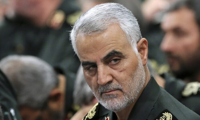 Iran's Revolutionary Guard Gen. Qassem Soleimani attends a meeting with Supreme Leader Ayatollah Ali Khamenei and Revolutionary Guard commanders in Tehran, Iran, on Sept. 18, 2016. (Office of the Iranian Supreme Leader via AP)