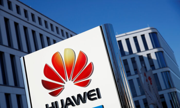 The logo of Huawei Technologies is pictured in front of the German headquarters of the Chinese telecommunications giant in Duesseldorf, Germany, on Feb. 18, 2019. (Wolfgang Rattay/Reuters)