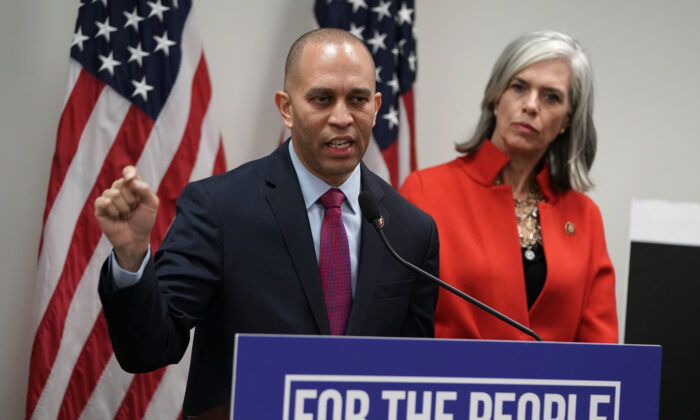House Democratic Caucus Chairman Rep. Hakeem Jeffries (D-N.Y.) speaks as House Democratic Caucus Vice Chair Katherine Clark (D-Mass.) listens during a news conference after a caucus meeting at the U.S. Capitol in Washington in a Jan. 9, 2019, file photograph. (Alex Wong/Getty Images)