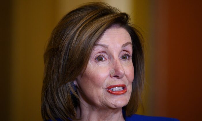 House Speaker Nancy Pelosi (D-Calif.) speaks on Capitol Hill in Washington on Jan. 8, 2020. (Jim Watson/AFP via Getty Images)