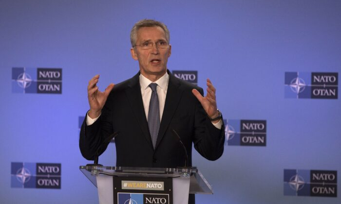 NATO Secretary General Jens Stoltenberg speaks during a media conference after a meeting of The North Atlantic Council at Ambassadorial level at NATO headquarters in Brussels on Jan. 6, 2020. (Virginia Mayo/AP Photo)