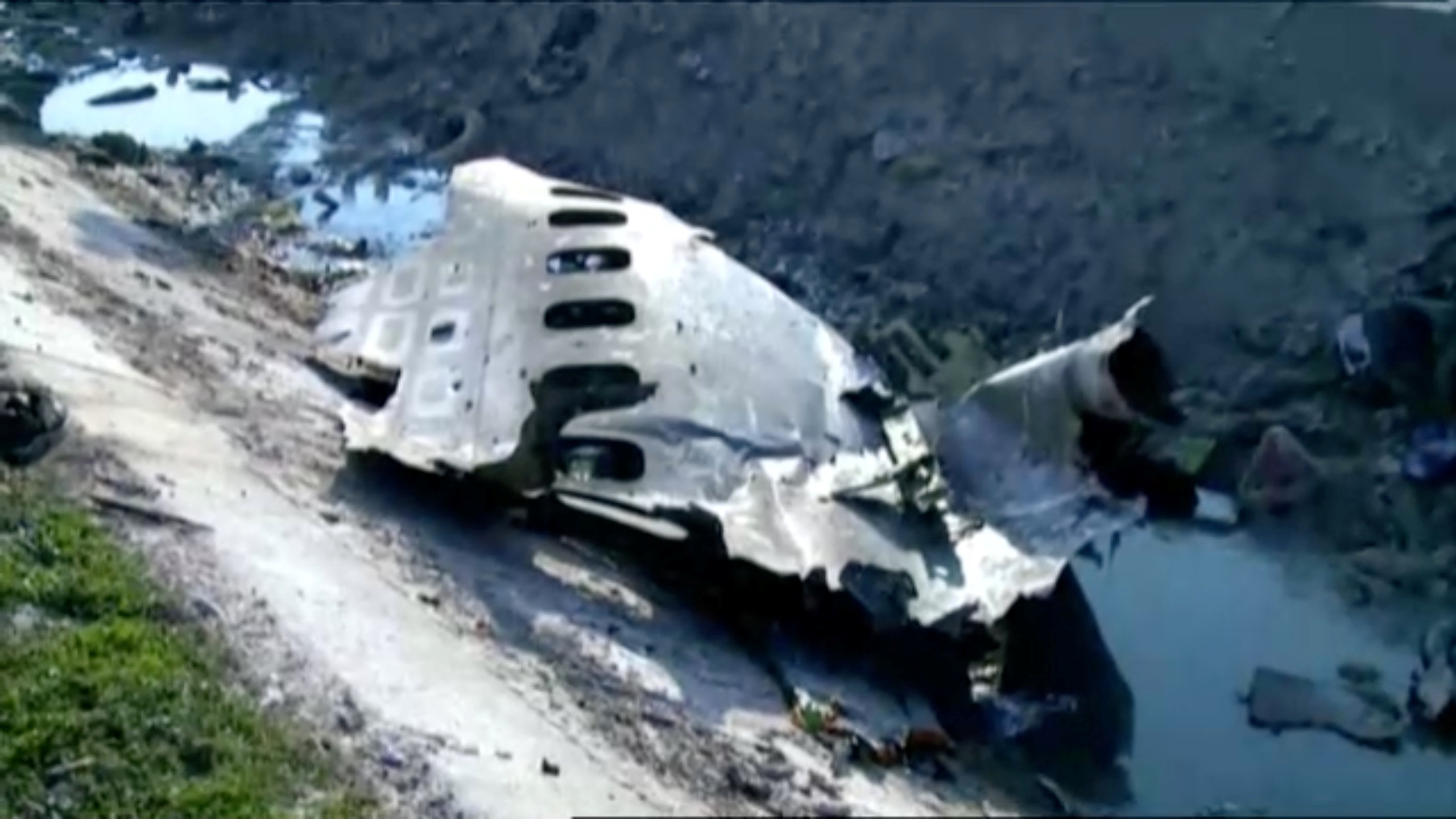 Part of the wreckage from Ukraine International Airlines flight PS752, a Boeing 737-800 plane that crashed after taking off from Tehran's Imam Khomeini airport