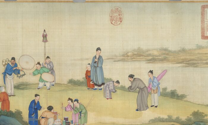 "A detail from Ding Guanpeng's ""Spring Market at Peace,"" Qing Dynasty (1644–1911). (Taipei National Palace Museum)"
