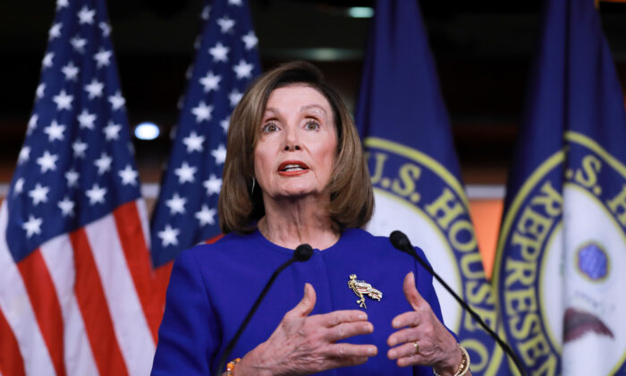 House Speaker Nancy Pelosi (D-Calif.) at a press conference in the U.S. Capitol in Washington on Jan. 9, 2020. (Charlotte Cuthbertson/The Epoch Times)