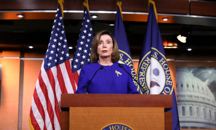House Speaker Nancy Pelosi (D-Calif.) at a press conference in the Capitol in Washington on Jan. 9, 2020. (Charlotte Cuthbertson/The Epoch Times)