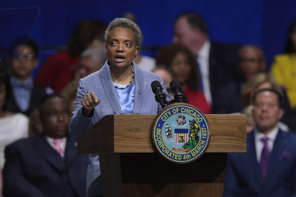 Lori Lightfoot addresses guests after being sworn in as Mayor of Chicago during a ceremony at the Wintrust Arena in Chicago, Illinois, on May 20, 2019. (Scott Olson/Getty Images)