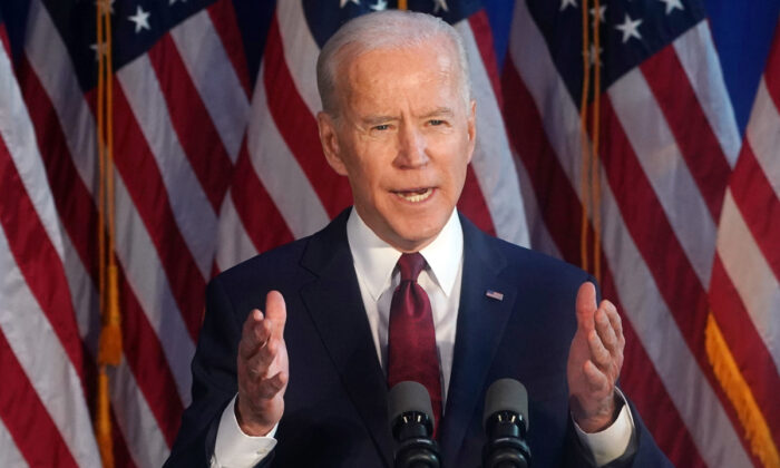 Democratic presidential candidate Joe Biden delivers a foreign policy statement on Iran at Chelsea Piers in New York on Jan. 7, 2020.  Timothy A. Clary/AFP via Getty Images