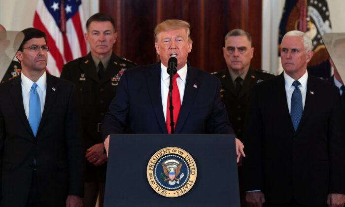 President Donald Trump speaks about the situation with Iran in the Grand Foyer of the White House in Washington on Jan. 8, 2020. (Saul Loeb/AFP via Getty Images)