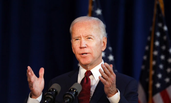 Democratic presidential candidate former Vice President Joe Biden delivers remarks on the Trump administration's recent actions in Iraq, in New York on Jan. 7, 2020.  Spencer Platt/Getty Images