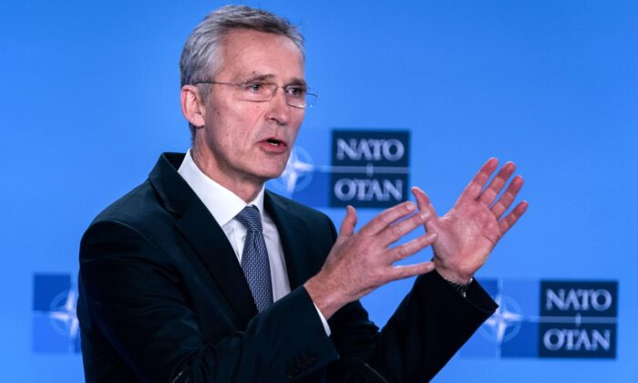 NATO Secretary General Jens Stoltenberg delivers a speech during a press conference at the end of The North Atlantic Council meeting focused on the situation concerning Iran, at NATO Headquarters, in Brussel, on Jan. 6, 2020. (Kenzo Tribouillard/AFP via Getty Images)