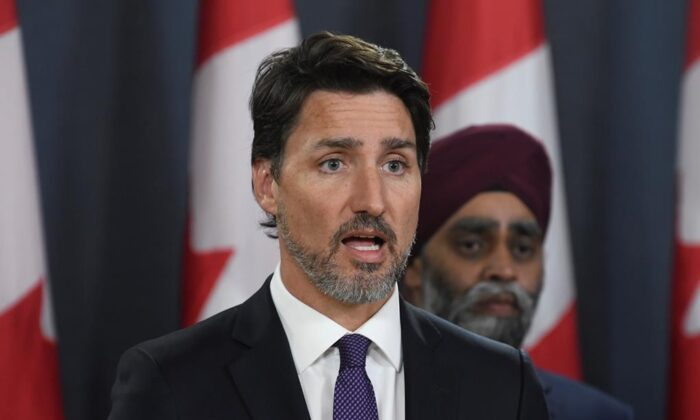Canadian Prime Minister Justin Trudeau holds a news conference updating the Iran plane crash in Ottawa on Jan. 9, 2020. (The Canadian Press/Adrian Wyld)
