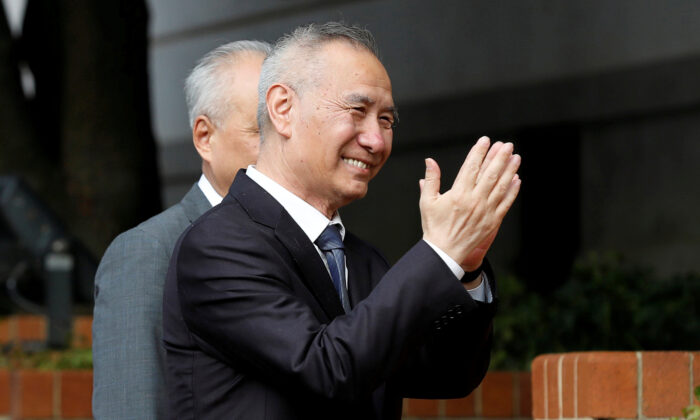 China's Vice Premier Liu He gestures as he arrives for U.S.-China trade negotiations in Washington, D.C., on Oct. 10, 2019. (Yuri Gripas/Reuters)