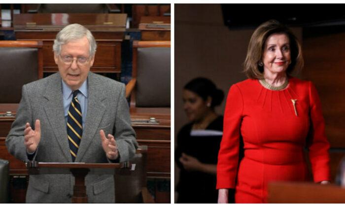 Senate Majority Leader Mitch McConnell (R-Ky.) and House Speaker Nancy Pelosi (D-Calif.). (Senate TV via AP; Charlotte Cuthbertson/The Epoch Times)