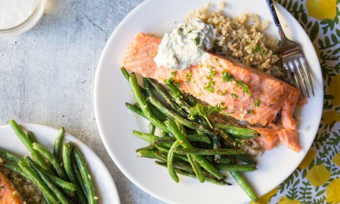 Sheet-pan salmon, a three-in-one meal. (Caroline Chambers)