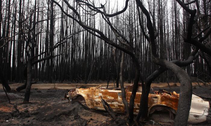 A bushfire damaged car is seen on the edge of the Playford HIghway west of Parndana on January 10, 2020 on Kangaroo Island, Australia. (Lisa Maree Williams/Getty Images)