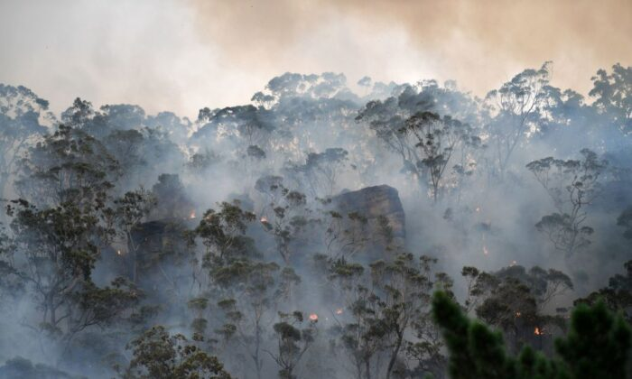 Smoke and flames from a back burn, conducted to secure residential areas from encroaching bushfires, are seen at the Spencer area in Central Coast, some 90-110 kilometres north of Sydney on Dec. 9, 2019. (SAEED KHAN/AFP via Getty Images)