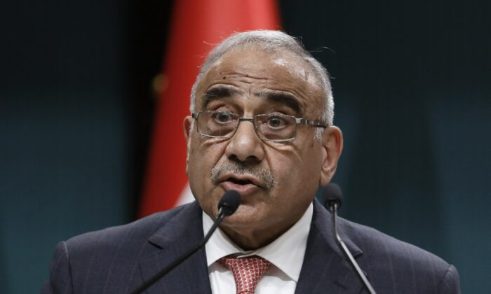 Iraqi Prime Minister Adel Abdul-Mahdi speaks to the media during a joint news conference with Turkish President Recep Tayyip Erdogan, in Ankara, Turkey, on May 15, 2019. (Burhan Ozbilici/AP Photo)