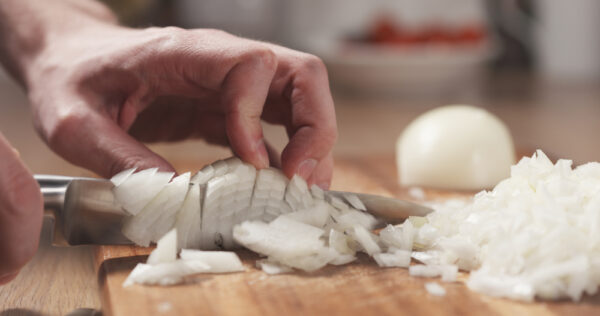 Mincing an onion