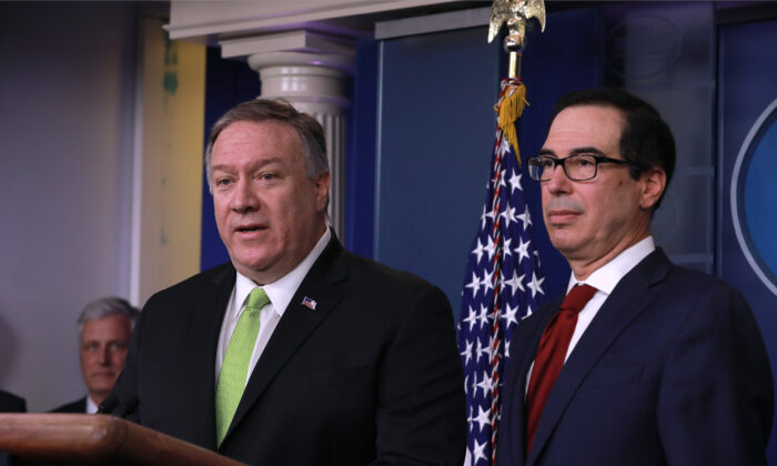 Secretary of State Mike Pompeo (L) and Secretary of the Treasury Steve Mnuchin at a media conference in the White House briefing room in Washington on Jan. 10, 2020. (Charlotte Cuthbertson/The Epoch Times)