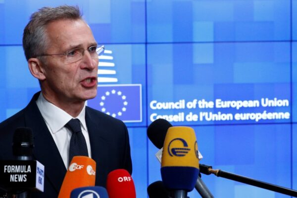 NATO Secretary General Jens Stoltenberg holds a news conference at a European Union foreign ministers emergency meeting to discuss ways to try to save the Iran nuclear deal, in Brussels, Belgium, January 10, 2020. (Francois Lenoir/Reuters)