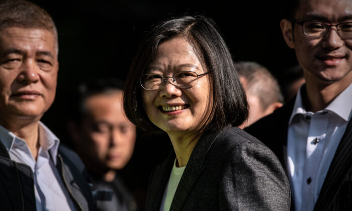 Taiwans President Tsai Ing-wen smiles as she leaves after casting her vote in the presidential election in Taipei, Taiwan, on Jan. 11, 2020. (Carl Court/Getty Images)