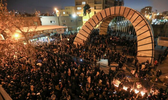 Iranians students demonstrate following a tribute for the victims of Ukraine International Airlines Boeing 737 in front of the Amirkabir University Tehran, on Jan. 11, 2020. (Atta Kenare/AFP via Getty Images)