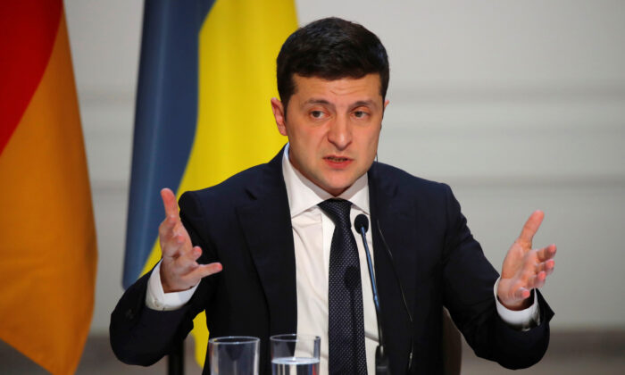 Ukraine's President Volodymyr Zelenskyy speaks during a press conference after a summit on Ukraine at the Elysee Palace, in Paris, on Dec. 9, 2019. (Charles Platiau/AFP via Getty Images)
