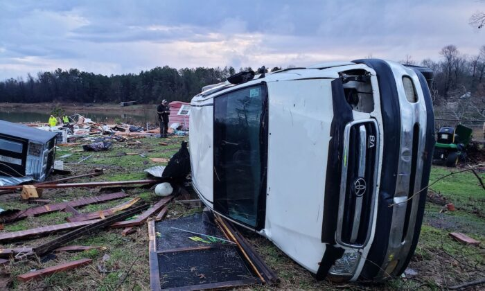 Damage from severe weather, including the home of an elderly in Bossier Parish, Louisiana, on Jan. 11, 2020. (Lt. Bill Davis/Bossier Parish Sheriff's Office via AP)