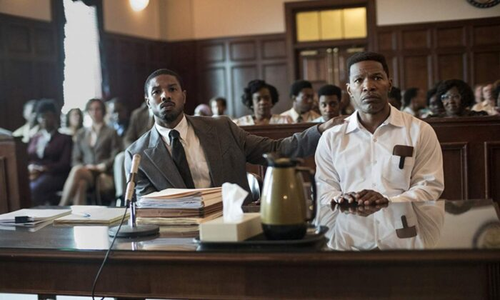 """Just Mercy"" is the story of a lawyer (Michael B. Jordan) defending an innocent man (Jamie Foxx). (Warner Bros. Pictures)"