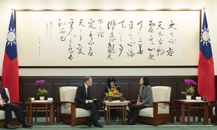 In this photo released by the Taiwan Presidential Office, William Brent Christensen (L), director of the American Institute in Taiwan, meets with Taiwan President Tsai Ing-wen in the Presidential Office in Taipei, Taiwan. (Taiwan Presidential Office via AP)