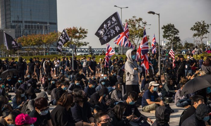 Pro-democracy protesters attend a rally at Edinburgh Place in the Central district of Hong Kong on Jan. 12, 2020. (DALE DE LA REY/AFP via Getty Images)