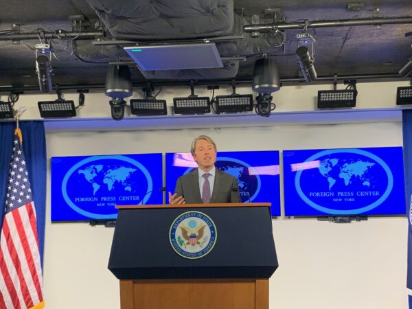 Robert Strayer, the deputy assistant secretary of state for cyber and international communications and information policy, holds a press briefing at the Foreign Press Center in Washington on Jan. 10, 2020. (Emel Akan/Epoch Times)