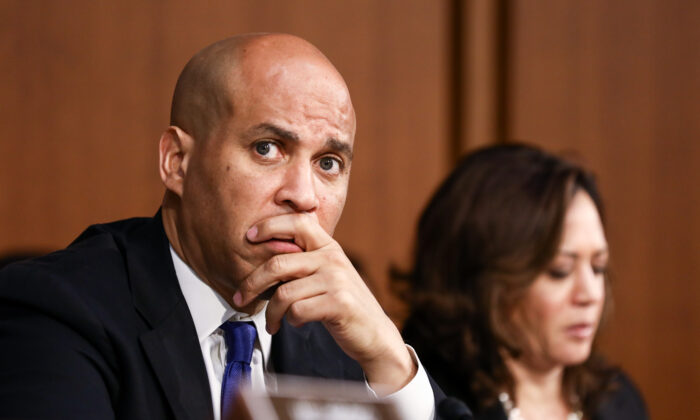 Sen. Cory Booker (D-N.J.) speaks during the Judge Brett Kavanaugh confirmation hearings at the Capitol in Washington on Sept. 4, 2018. (Samira Bouaou/The Epoch Times)