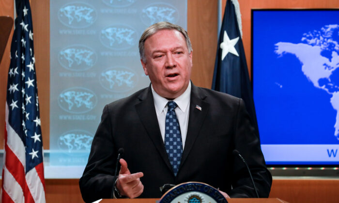 Secretary of State Mike Pompeo holds a press briefing at the State Department in Washington on Jan. 7, 2020. (Charlotte Cuthbertson/The Epoch Times)