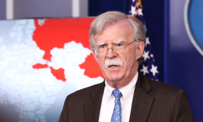 National security advisor John Bolton speaks at a press briefing at the White House in Washington on Jan. 28, 2019. (Holly Kellum/NTD)