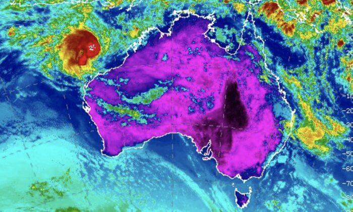 Infrared image of Australia from weather satellite on Jan. 13, 2020. (NOAA)