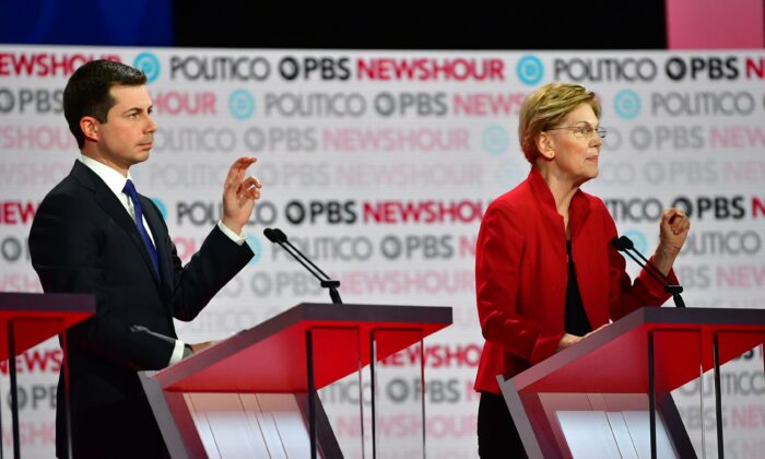 Democratic presidential hopeful Mayor of South Bend, Indiana Pete Buttigieg (L) and Massachusetts Senator Elizabeth Warren participate of the sixth Democratic primary debate at Loyola Marymount University in Los Angeles on Dec. 19, 2019. (Frederic J. Brown/AFP via Getty Images)